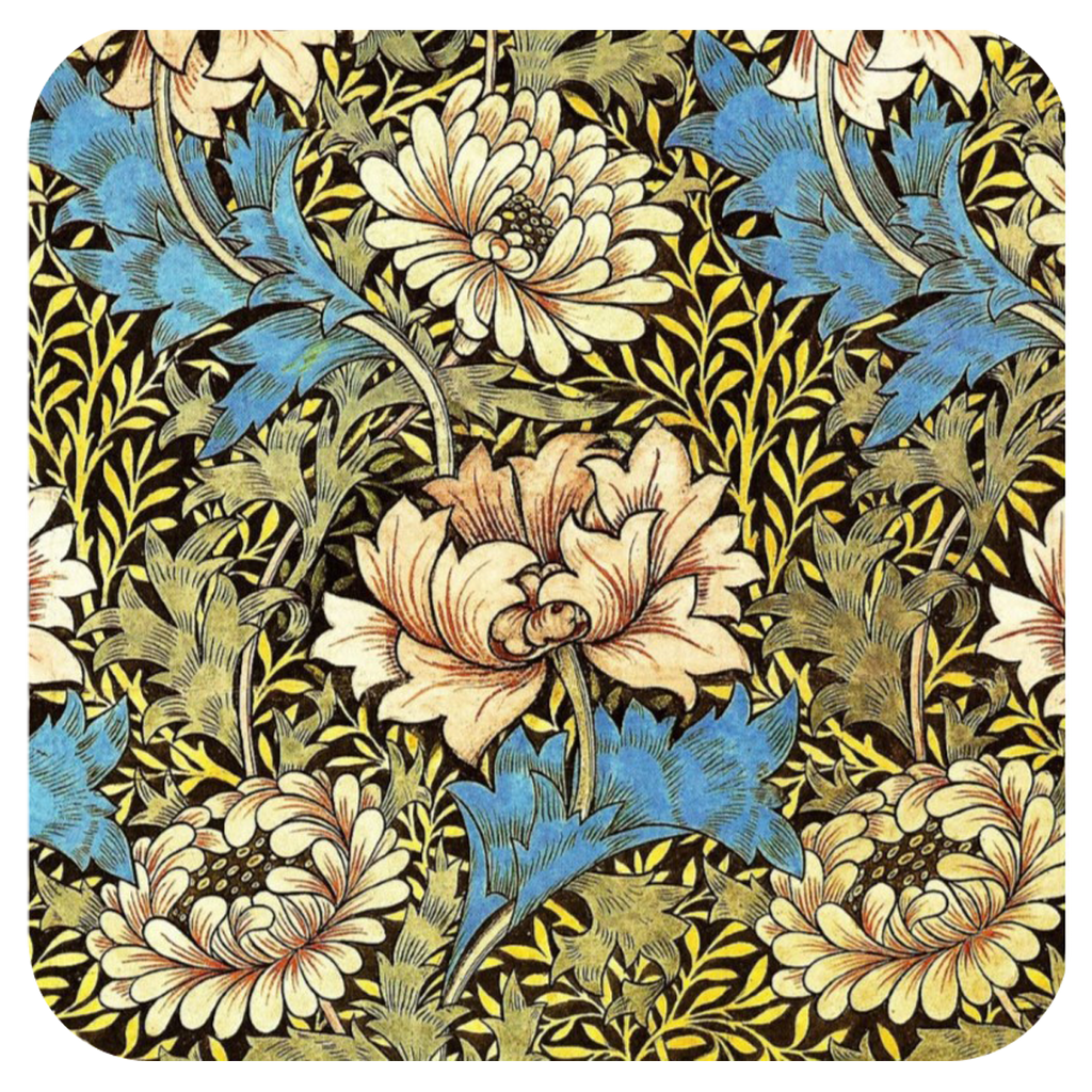 Morris Blue Flower Coaster S/6 - Golden Hill Studio