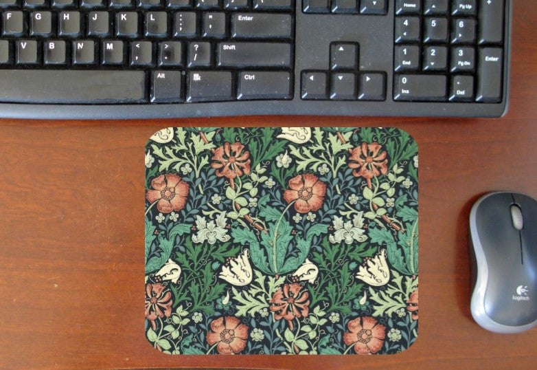 William Morris Pink Floral Hot Pads/Mouse Pads - Golden Hill Studio