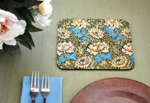 William Morris White Floral Hot Pads/Mouse Pads - Golden Hill Studio