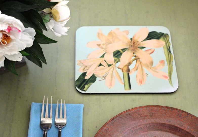 White Amaryllis Hot Pads/Mouse Pads - Golden Hill Studio