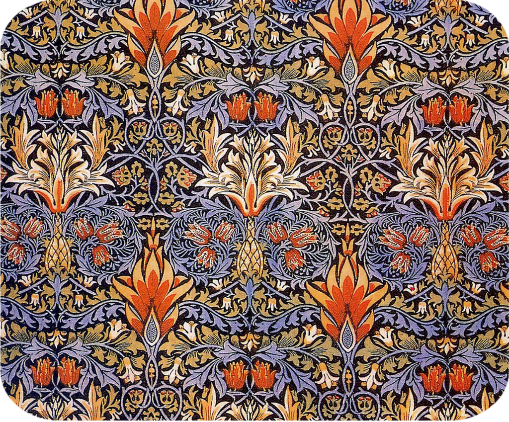 William Morris Orange Flame Flower Hot Pads/Mouse Pads - Golden Hill Studio