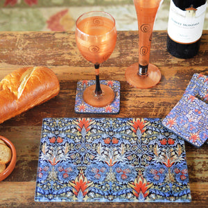 William Morris Pineapple  Cheese Tray/Cutting Board & Coaster Set - Golden Hill Studio