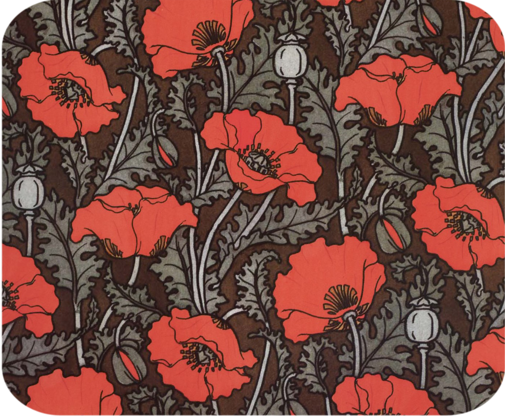 William Morris Red Poppy Hot Pads/Mouse Pads - Golden Hill Studio