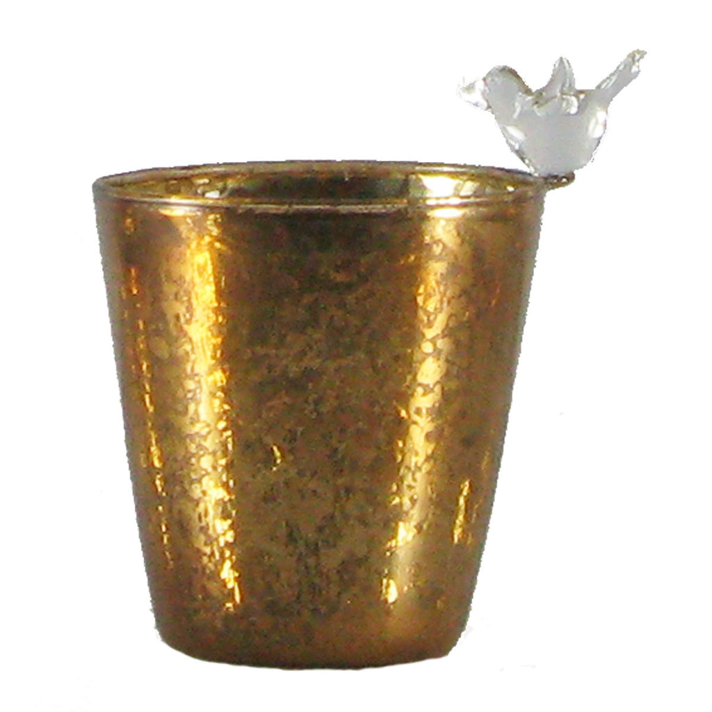 Copper mercury glass votive cup with bird   Set of 2 - Golden Hill Studio