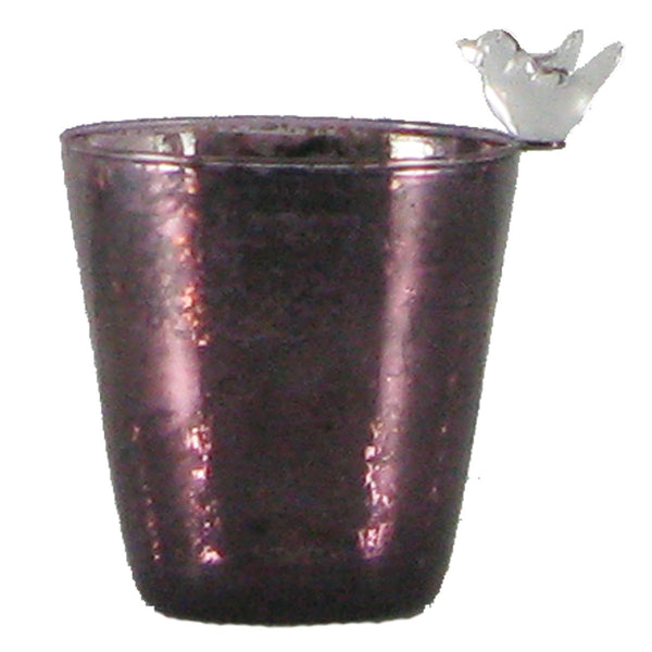 Amethyst mercury glass votive cup with bird    Set of 2 - Golden Hill Studio
