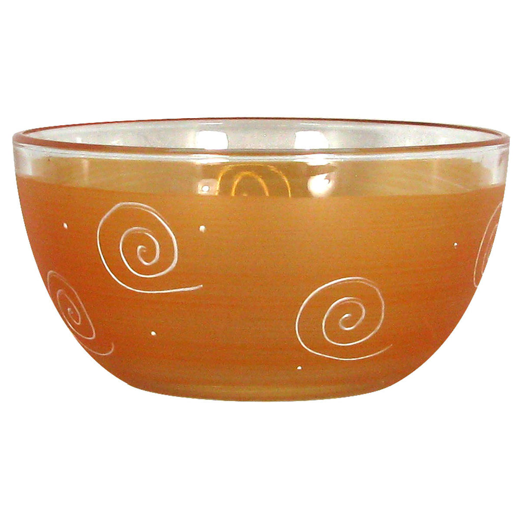 "Frosted Curl/Dot Orange 6"" Bowl - Golden Hill Studio"