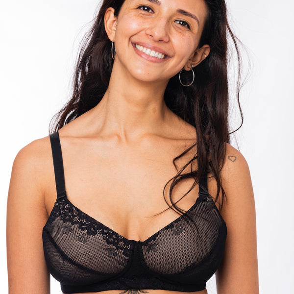 Simple Wishes Sling Nursing & Pumping Bra in Black Lace Front View