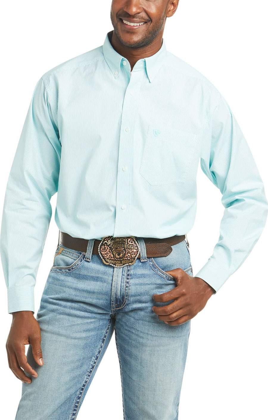MEN'S ARIAT PRO DAYNE MINI STRIPE CLASSIC LS BUTTON SHIRT