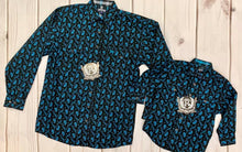 Load image into Gallery viewer, BOY'S PANHANDLE PEACOCK BLUE  PAISLEY PEARL SNAP
