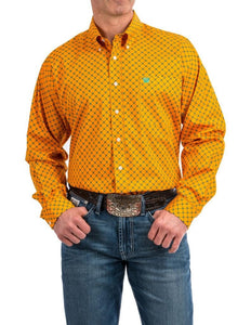 Cinch Men's Orange Geo Print Tencel Long Sleeve Western Shirt