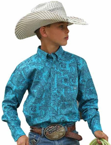 Boy's CINCH Turquoise Paisley Button Down Western Shirt