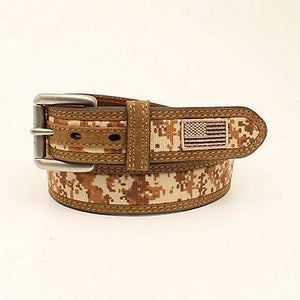 Ariat Men's Digital Camo US Flag Belt, Medium Brown