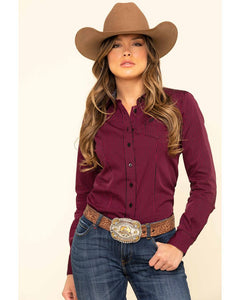 Cinch Women's Dark Fuchsia Stripe Button Long Sleeve Western Shirt