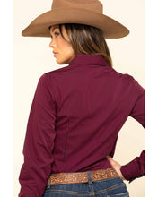 Load image into Gallery viewer, Cinch Women's Dark Fuchsia Stripe Button Long Sleeve Western Shirt