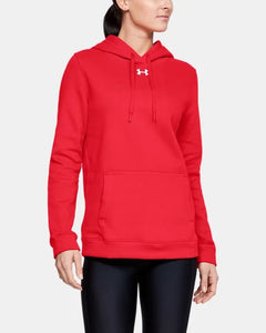 Women's UNDER ARMOUR Hustle Fleece Hoodie (Red)