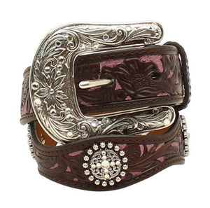 ARIAT GIRL'S FLORAL OVERLAY BROWN & PINK LEATHER BELT