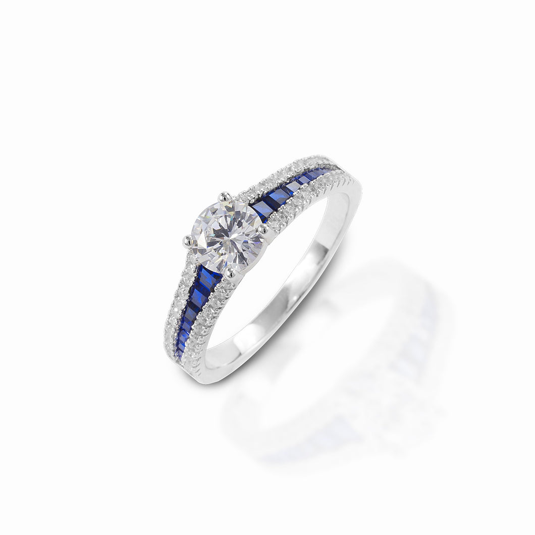KELLY HERD BLUE SPINEL ENGAGEMENT RING - STERLING SILVER