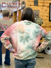 Load image into Gallery viewer, Simply Southern Pink Tie-Dye Corded Lightweight Crewneck Sweatshirt