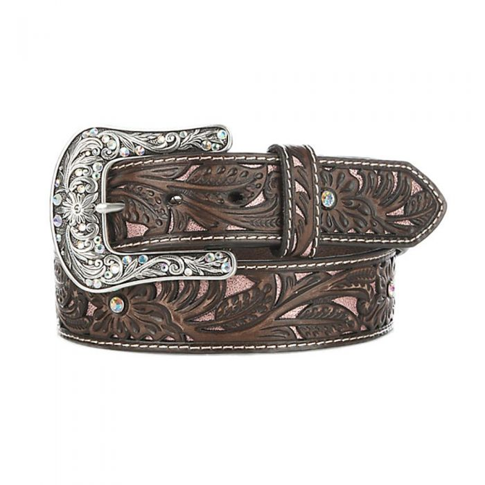 Ariat Women's Dark Brown and Pink Jeweled Leather Belt