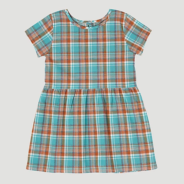 BABY GIRL WRANGLER SHORT SLEEVE PLAID BUTTON-BACK DRESS