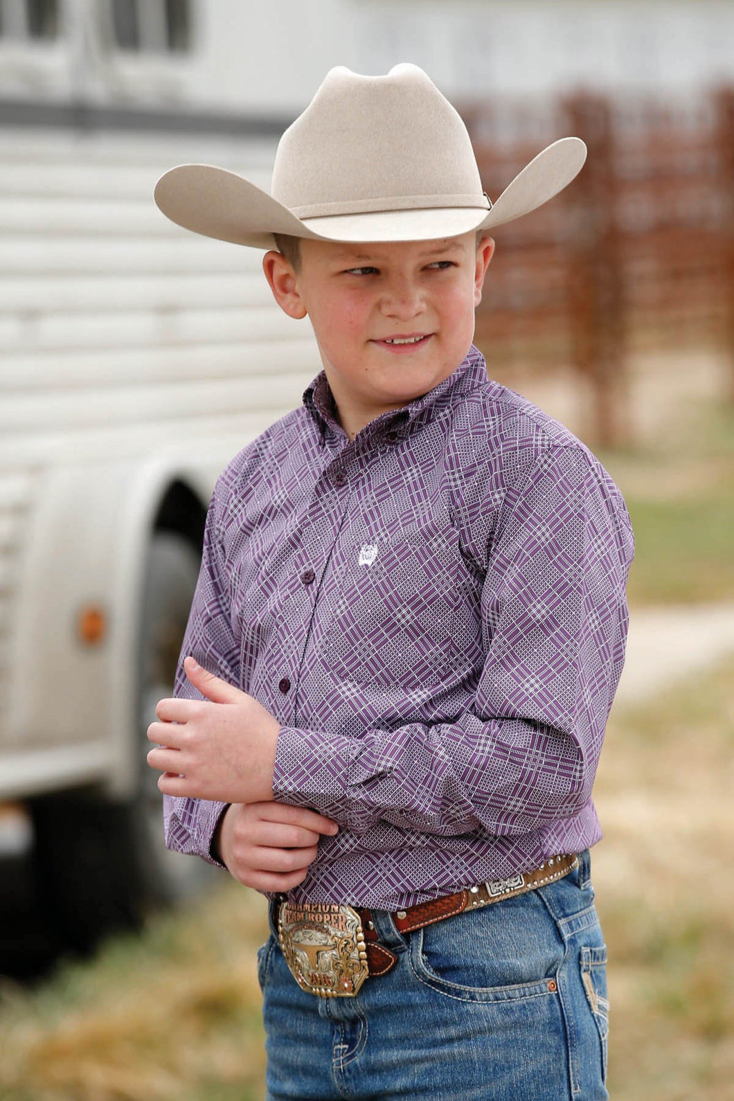 Boy's CINCH Purple & White Diamond Print Button Down Western Shirt