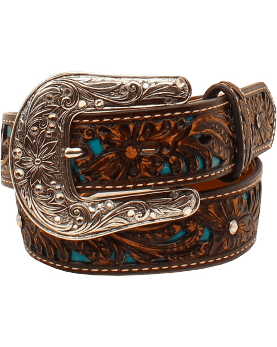 ARIAT GIRL'S BROWN & TURQUOISE WITH FLORAL OVERLAY WESTERN BELT