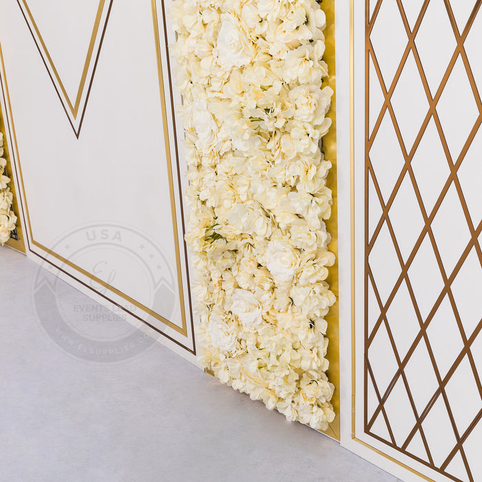 SULIS Gold and White Backdrop
