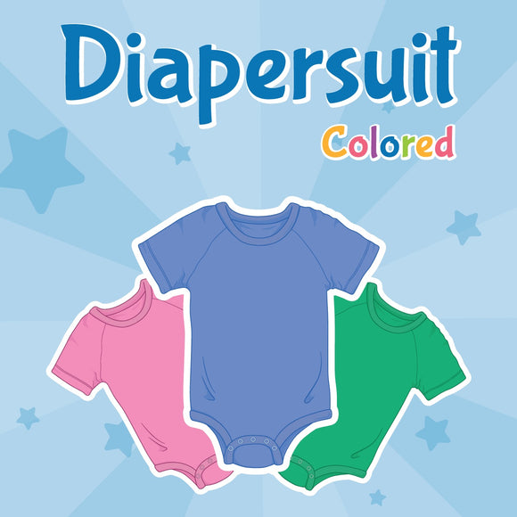 Digital image of diapersuits in pink, blue and green