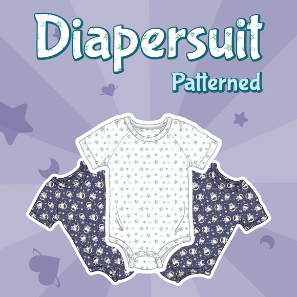Digital image of diapersuits in space penguin and moon and star prints