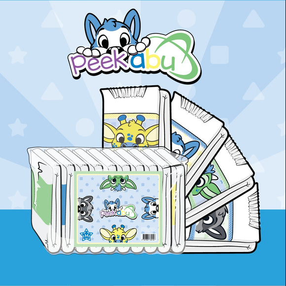 Digital drawing of case of diapers with all four printed diapers folded next to it