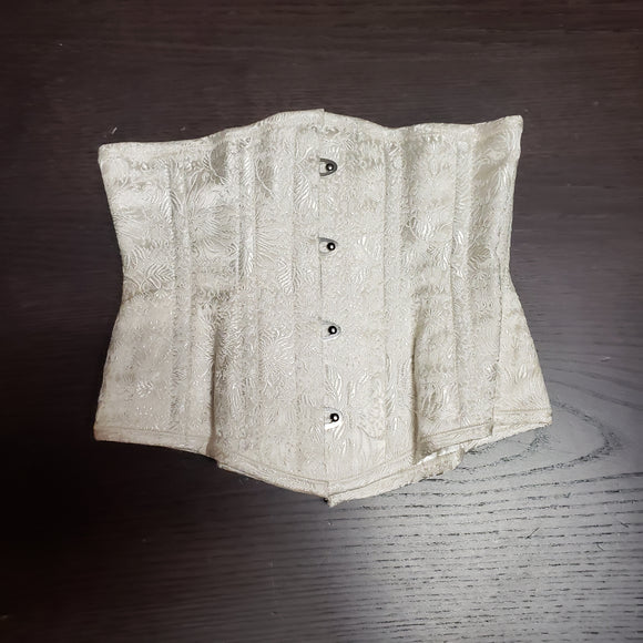 Pre-owned White Brocade Cincher