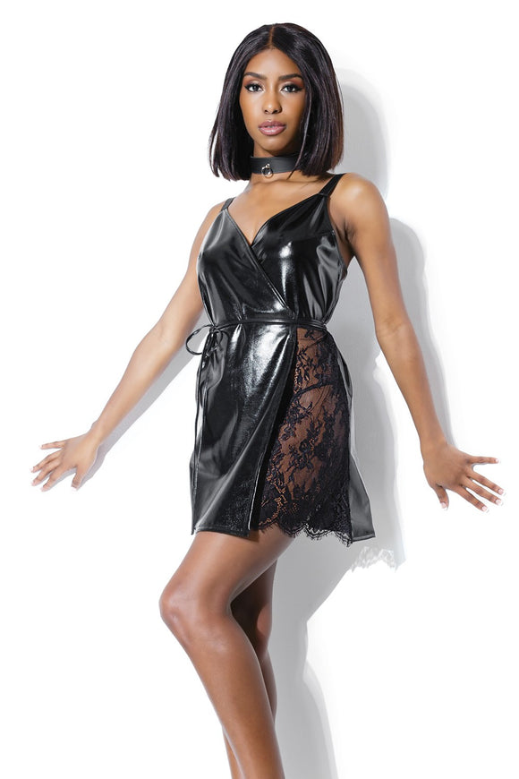 Vinyl and Lace Wrap Chemise