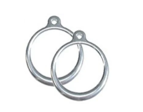 "Two 6"" diameter rings made from polished aluminum."