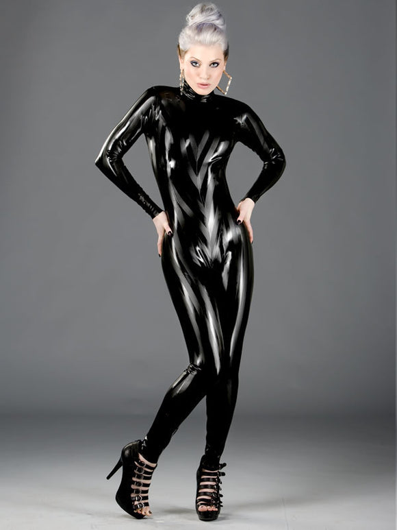 Stripe Hype Latex Back Zip Catsuit