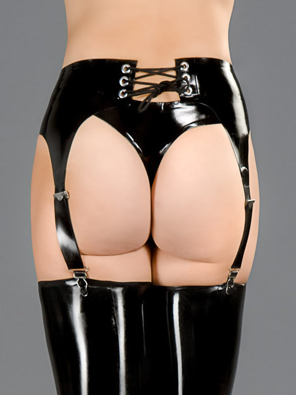 Latex Garter Belt W/Lace Back