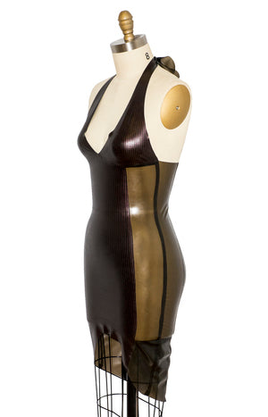 Texture Panel Latex Halter Dress
