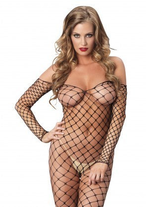 Fence Net Off the Shoulder Bodystocking  mid front reg size