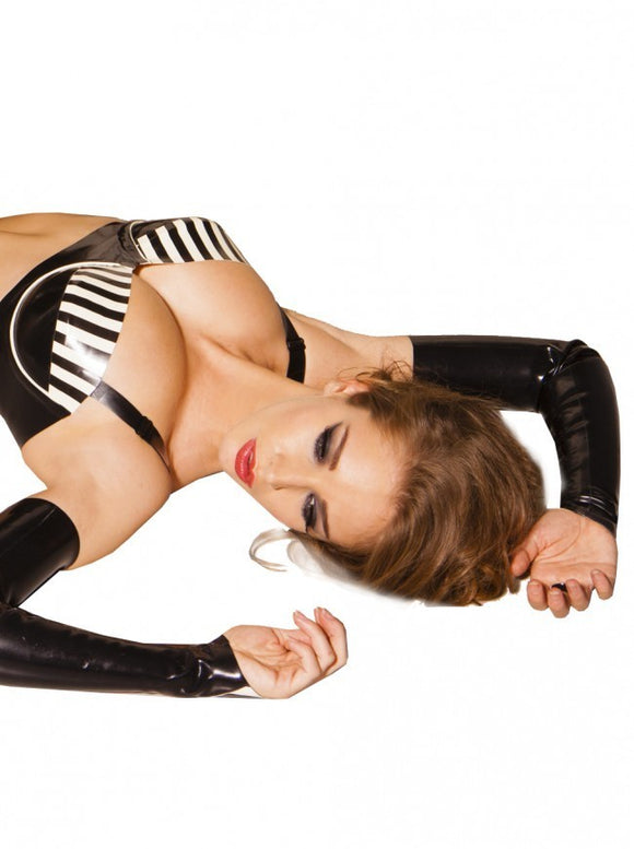 Latex Dita Gauntlet Sleeves w/ Stripe Trim