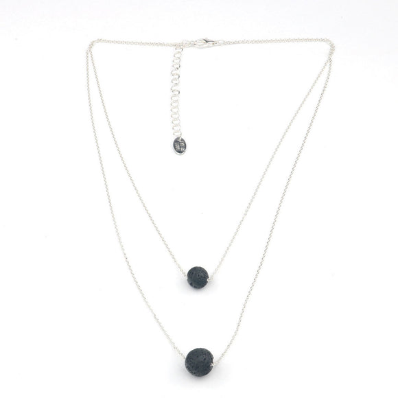 Eye of Love Pheromone Lava Rock Two Layer Necklace Silver