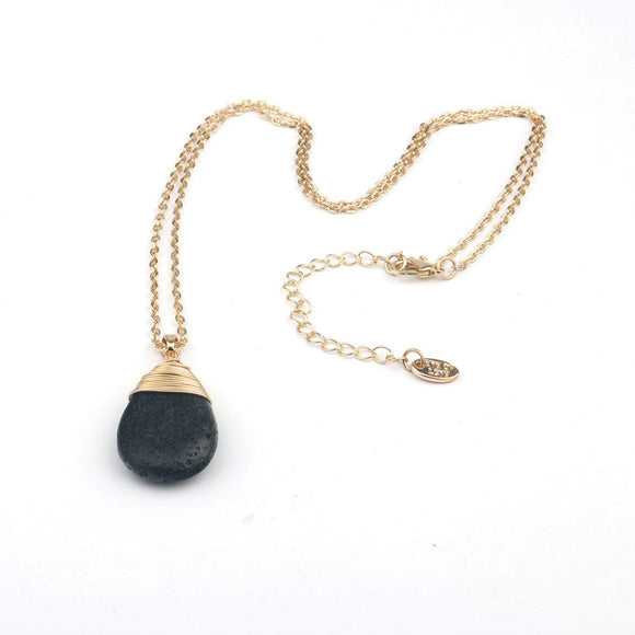 Eye of Love Pheromone Lava Rock Drop Necklace