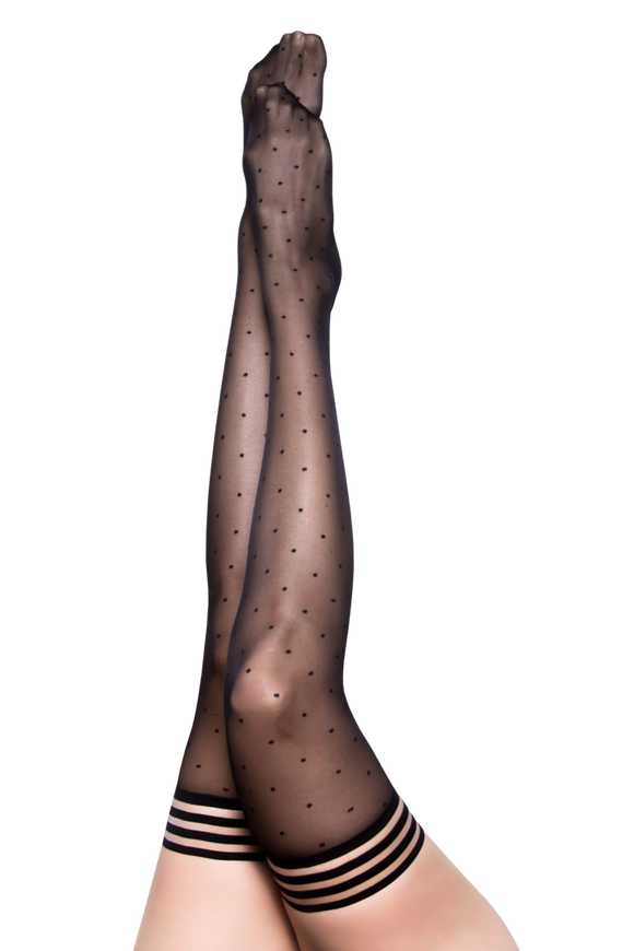 Ally Black Polka Dot Thigh Highs