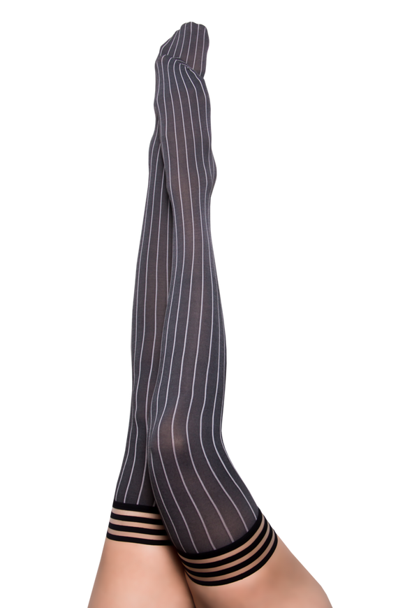 Annabelle Grey Pinstripe Thigh Highs