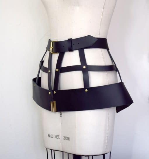 Hubris Leather Harness Cage Skirt