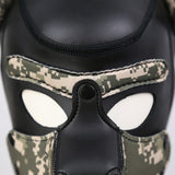 A close up view of the front of the camouflage Neoprene Puppy Hood.