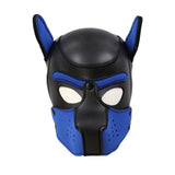 The black and blue Neoprene Puppy Hood.