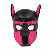 The black and pink Neoprene Puppy Hood.