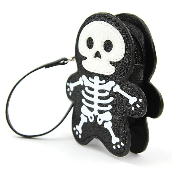 Sleepyville Glitter Skeleton Wrist Bag