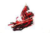 Red and black Rubber Finger Loop Flogger.