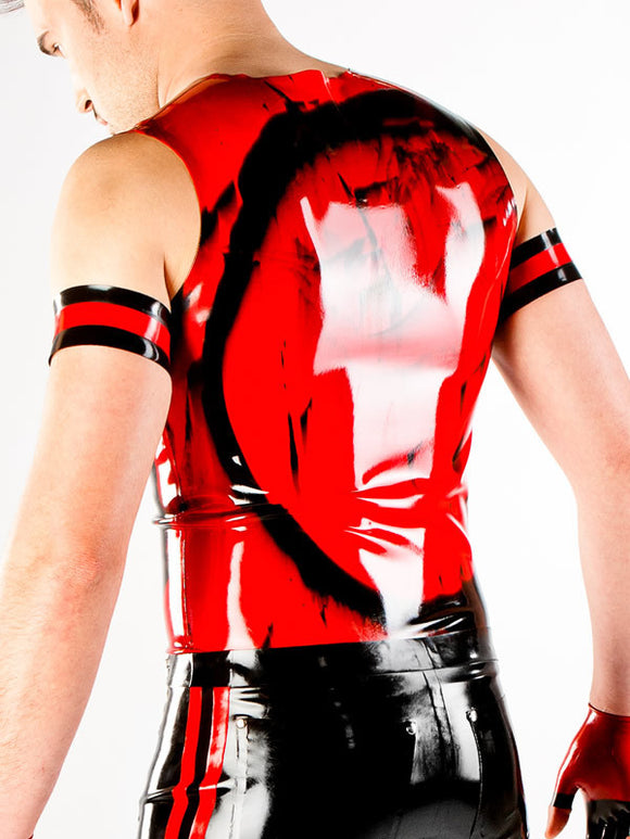 Marbled Latex Sleeveless Zip Shirt