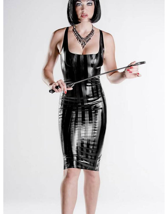 Striped Latex Long Cocktail Dress